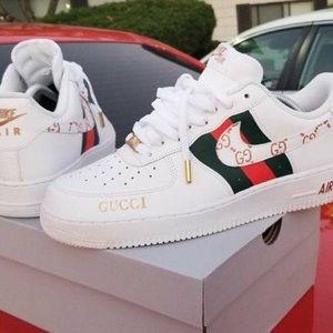 Custom Painted - Nike Air Force 1 x Gucci